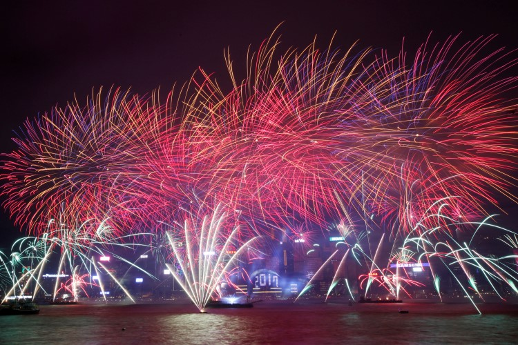 Fireworks explode during New Year's celebrations in Hong Kong