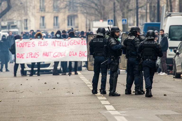 France: Riot police confront banned anti-police student protest in Paris