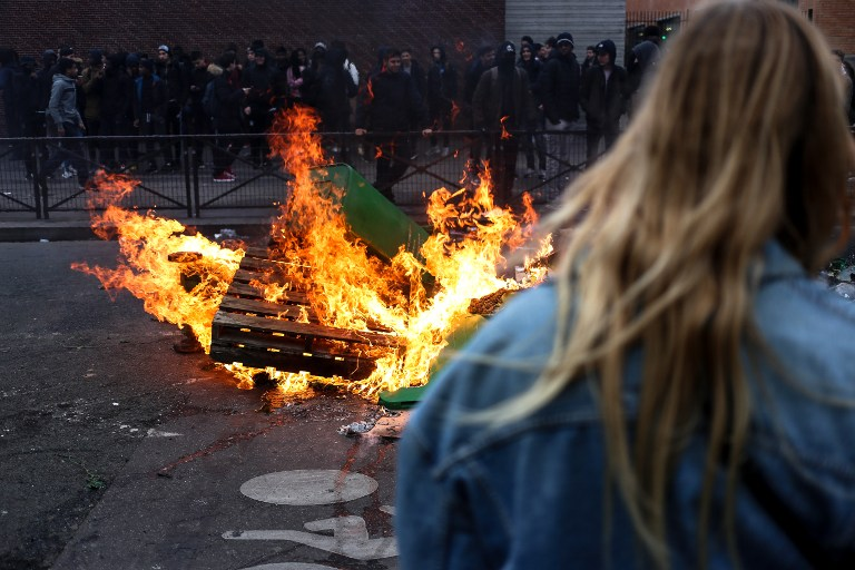 France: Students block schools to protest police violence in Paris following the alleged rape of Theo