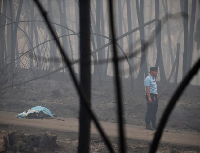 ATTENTION EDITORS - VISUAL COVERAGE OF SCENES OF INJURY OR DEATH A policeman stands near a victim of a forest fire on the IC8 motorway near Pedrogao Grande, in central Portugal, June 18, 2017. REUTERS/Rafael Marchante TEMPLATE OUT