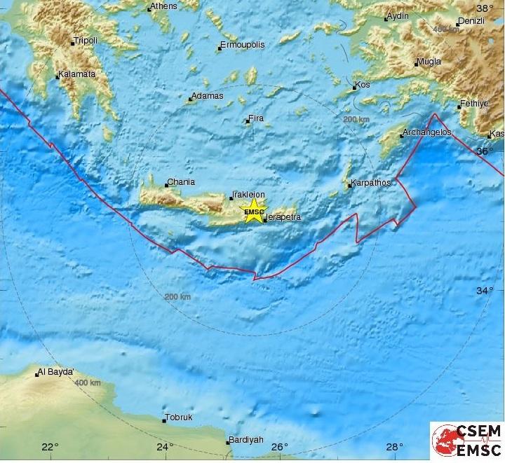 Στο χάρτη απεικονίζεται το επίκεντρο της δόνησης σύμφωνα με το Ευρωμεσογειακό Σεισμολογικό Κέντρο