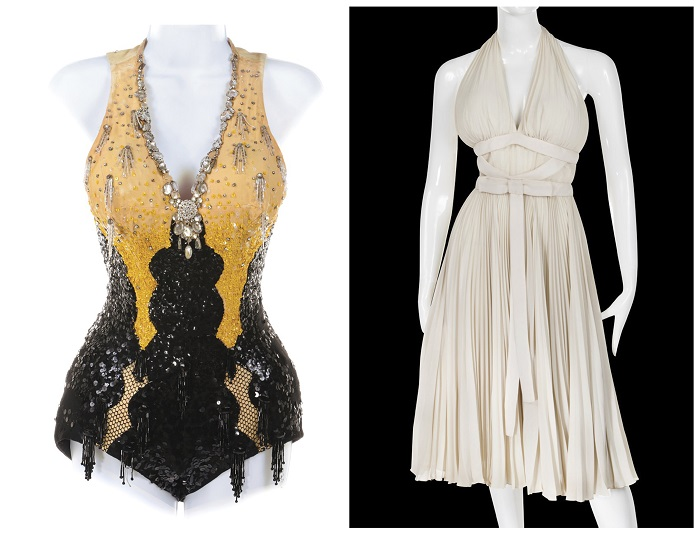 "This combination photo of images released by Profiles in History shows costumes worn by actress Marilyn Monroe in ""Gentlemen Prefer Blondes,"" left, and ""The Seven Year Itch,"" that are up for auction in October 2018. (Profiles in History via AP)"