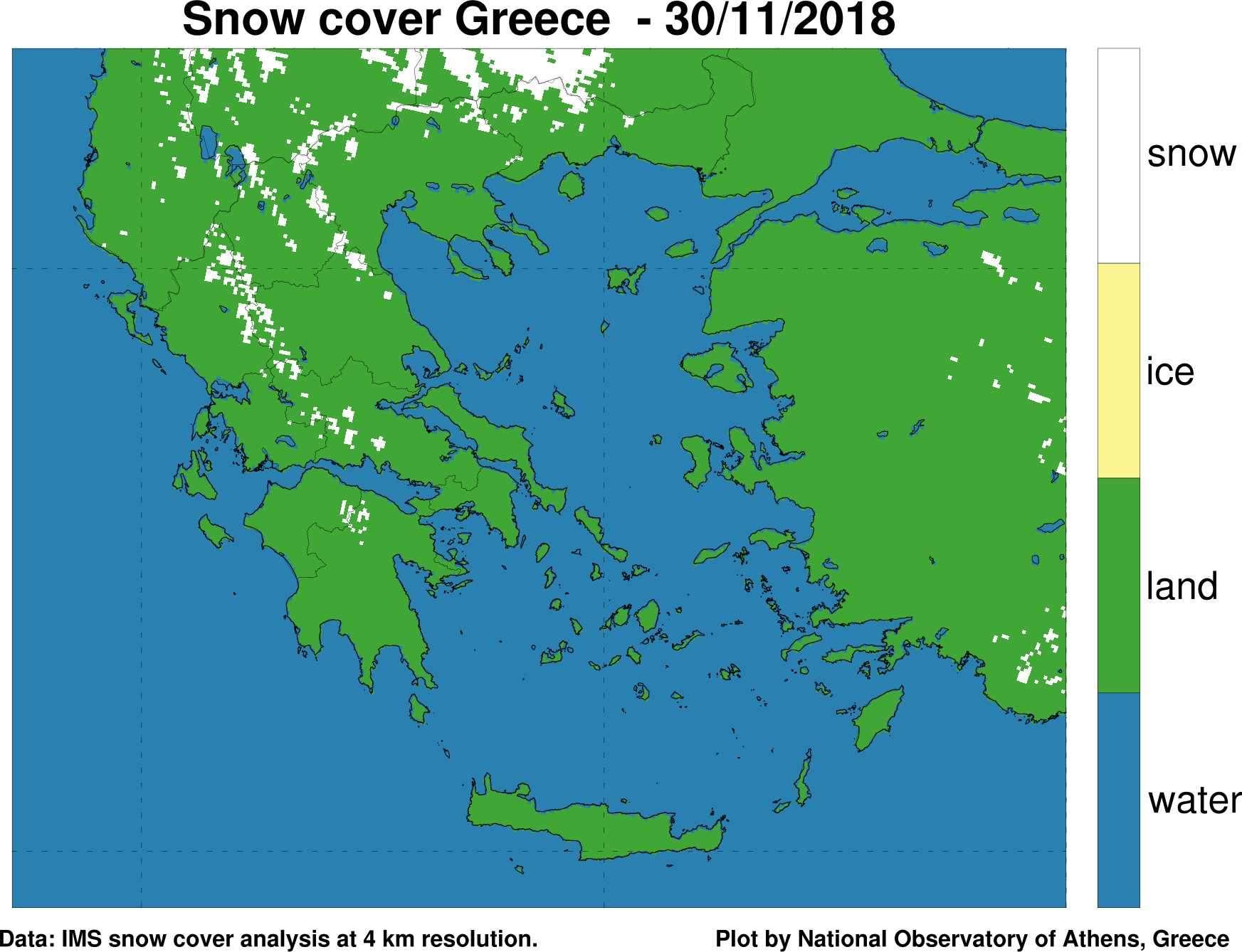 Δορυφορική εκτίμηση χιονοκάλυψης στην Ελλάδα μετά το πέρας της «Πηνελόπης».