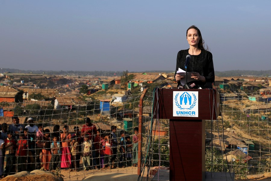 Actor Angelina Jolie joins in a press briefing as she visits Kutupalong refugee camp in Cox's Bazar