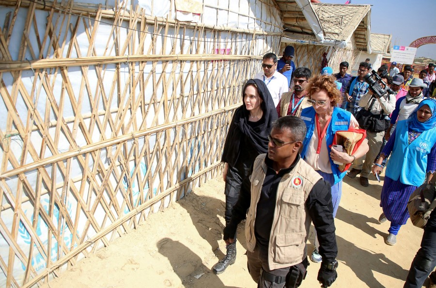 Actor Angelina Jolie visits a Rohingya refugee camp in Cox's Bazar