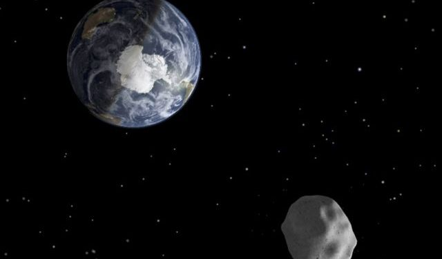 NASA handout image of the passage of asteroid 2012 DA14 through the Earth-moon system