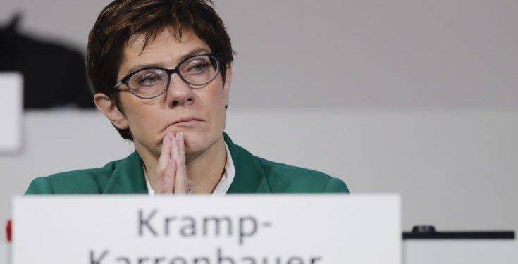 New elected Christian Democratic Union party chairwoman Annegret Kramp-Karrenbauer attend a party convention of the Christian Democratic Party CDU in Hamburg, Germany, Saturday, Dec. 8, 2018. (AP Photo/Markus Schreiber)
