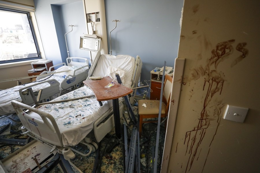 A damaged hospital is seen after a massive explosion in Beirut, Lebanon, Wednesday, Aug. 5, 2020. (AP Photo/Hassan Ammar)