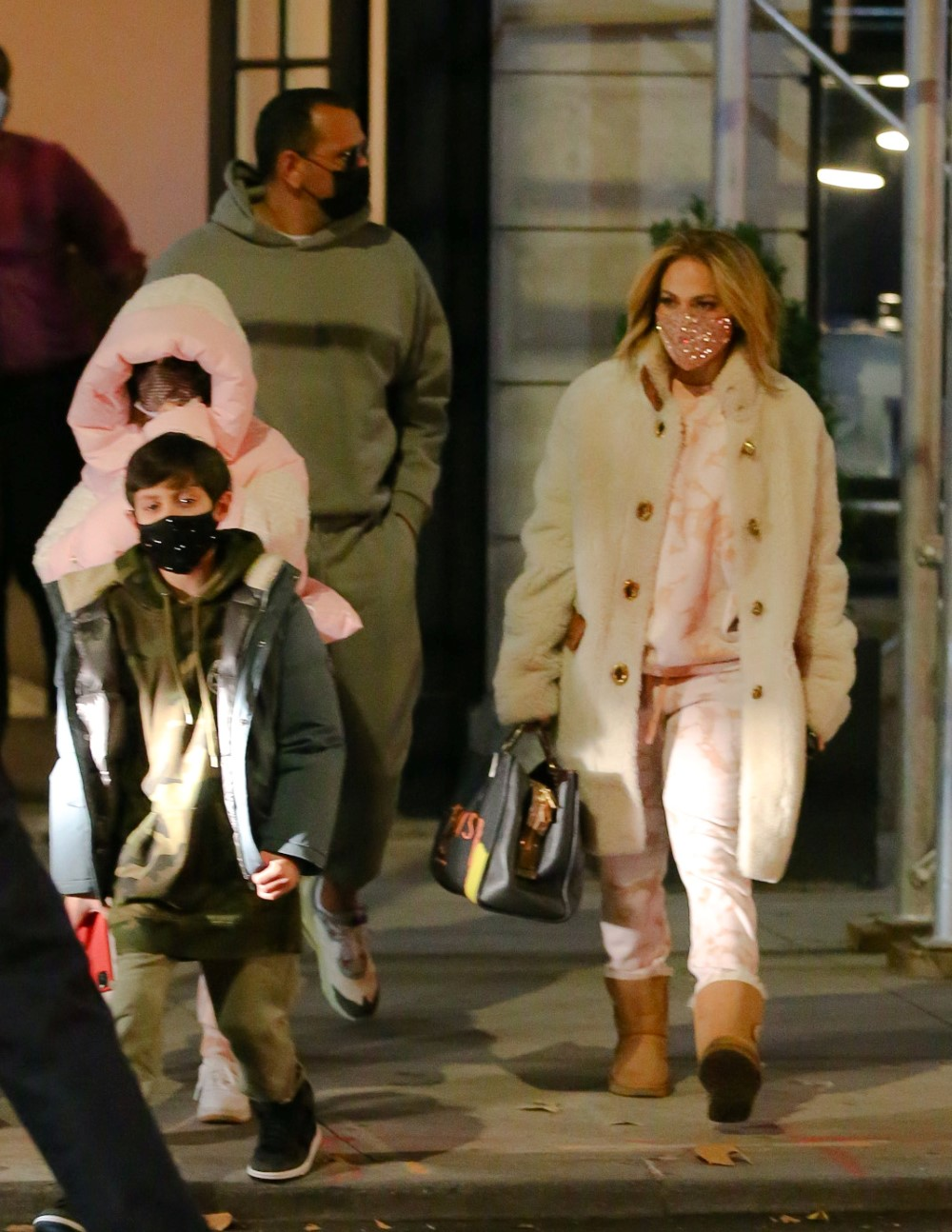 Jennifer Lopez Bundles Up In Warm Coach Coat For Night Out With Twins Max And Emme And Fiance Alex Rodriguez
