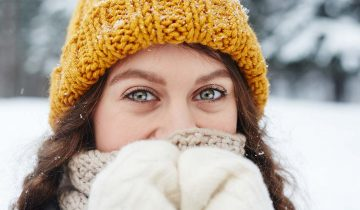 Beautiful eyes of pretty girl in knitted hat