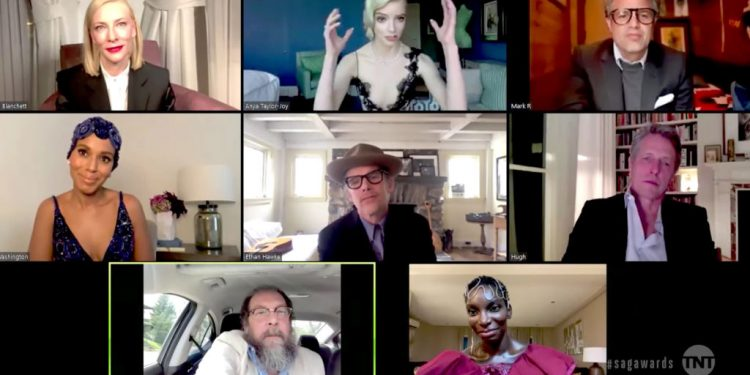 VARIOUS CITIES - APRIL 04: (L-R) In this screengrab released on April 4, 2021, Cate Blanchett, Anya Taylor-Joy, Mark Ruffalo, Kerry Washington, Ethan Hawke, Hugh Grant, Bill Camp, and Michaela Coe speak during the 27th Annual Screen Actors Guild Awards on April 04, 2021. (Photo by 27th Annual SAG Awards/Getty Images for WarnerMedia)